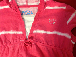 """""""Place"""" Girls Pink Hooded V-Neck Shirt Pink with White Stripes Size Medium 7/8 image 2"""