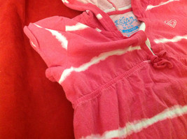 """""""Place"""" Girls Pink Hooded V-Neck Shirt Pink with White Stripes Size Medium 7/8 image 7"""