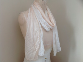 Pleated Cream White Scrunch Style Scarf NO TAG Length 68 Inches Width 24 Inches image 2