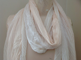 Pleated Cream White Scrunch Style Scarf NO TAG Length 68 Inches Width 24 Inches image 3