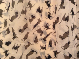 Playing Cats Light Tan Black Cats Scarf 100 Percent Polyester NEW image 2