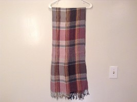 Pleated Light and Dark Shades of Pink Brown Gray Plaid Pattern Acrylic Scarf image 3