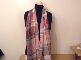 Pleated Light and Dark Shades of Pink Brown Gray Plaid Pattern Acrylic Scarf image 2