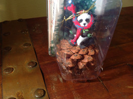Real Pine Cone Panda Bear with Scarf Pet Pine Cone Christmas Ornament image 2