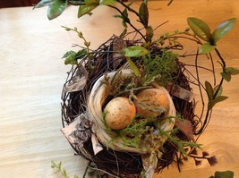 Realistic looking nest with greens and eggs spring display or teacher tool image 9