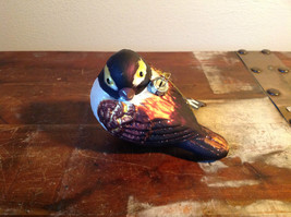 Realistic Glass Bird Ornament with Glitter Brown Black White image 2