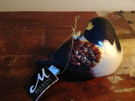 Realistic Glass Bird Ornament with Glitter Brown Black White image 5