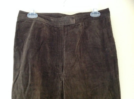 Real Suede Leather Brown Dress Pants Massini Zipper Button Clasp Closure Size 10 image 2