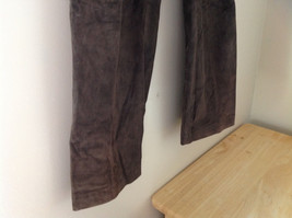 Real Suede Leather Brown Dress Pants Massini Zipper Button Clasp Closure Size 10 image 3