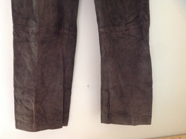 Real Suede Leather Brown Dress Pants Massini Zipper Button Clasp Closure Size 10 image 4