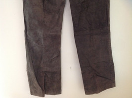 Real Suede Leather Brown Dress Pants Massini Zipper Button Clasp Closure Size 10 image 7