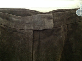 Real Suede Leather Brown Dress Pants Massini Zipper Button Clasp Closure Size 10 image 5