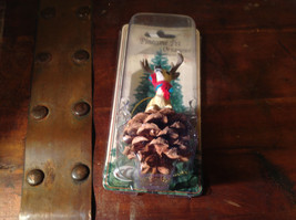 Real Pine Cone Deer Buck with Scarf Pet Pine Cone Christmas Ornament image 3