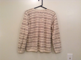 Reba Rose Size L Natural White Beige Striped Pattern Cardigan Button Front image 2