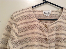 Reba Rose Size L Natural White Beige Striped Pattern Cardigan Button Front image 3