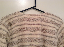 Reba Rose Size L Natural White Beige Striped Pattern Cardigan Button Front image 6
