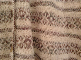 Reba Rose Size L Natural White Beige Striped Pattern Cardigan Button Front image 5