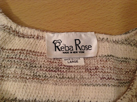 Reba Rose Size L Natural White Beige Striped Pattern Cardigan Button Front image 8