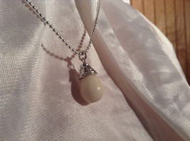 Real White Teardrop Stone Silver Ball Chain Pendant Necklace by Bella Ryann image 3