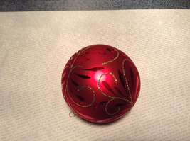 Red Ball Classic Gold Accents Old German Christmas Glass Tree Ornament image 4