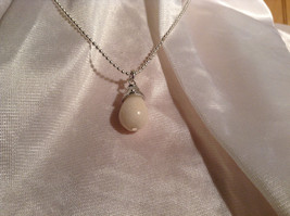 Real White Teardrop Stone Silver Ball Chain Pendant Necklace by Bella Ryann image 4