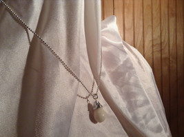 Real White Teardrop Stone Silver Ball Chain Pendant Necklace by Bella Ryann image 2