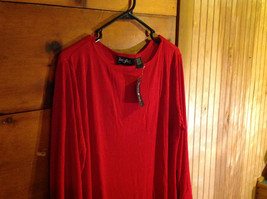 Red Asymmetrical Shirt by Magic Scarf Company Tag Attached Size XL to 2XL image 3