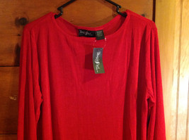 Red Asymmetrical Shirt by Magic Scarf Company Tag Attached Size XL to 2XL image 2