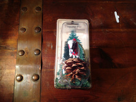 Real Pine Cone White Buffalo with Scarf Pet Pine Cone Christmas Ornament image 4