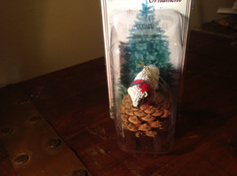 Real Pine Cone White Buffalo with Scarf Pet Pine Cone Christmas Ornament image 2