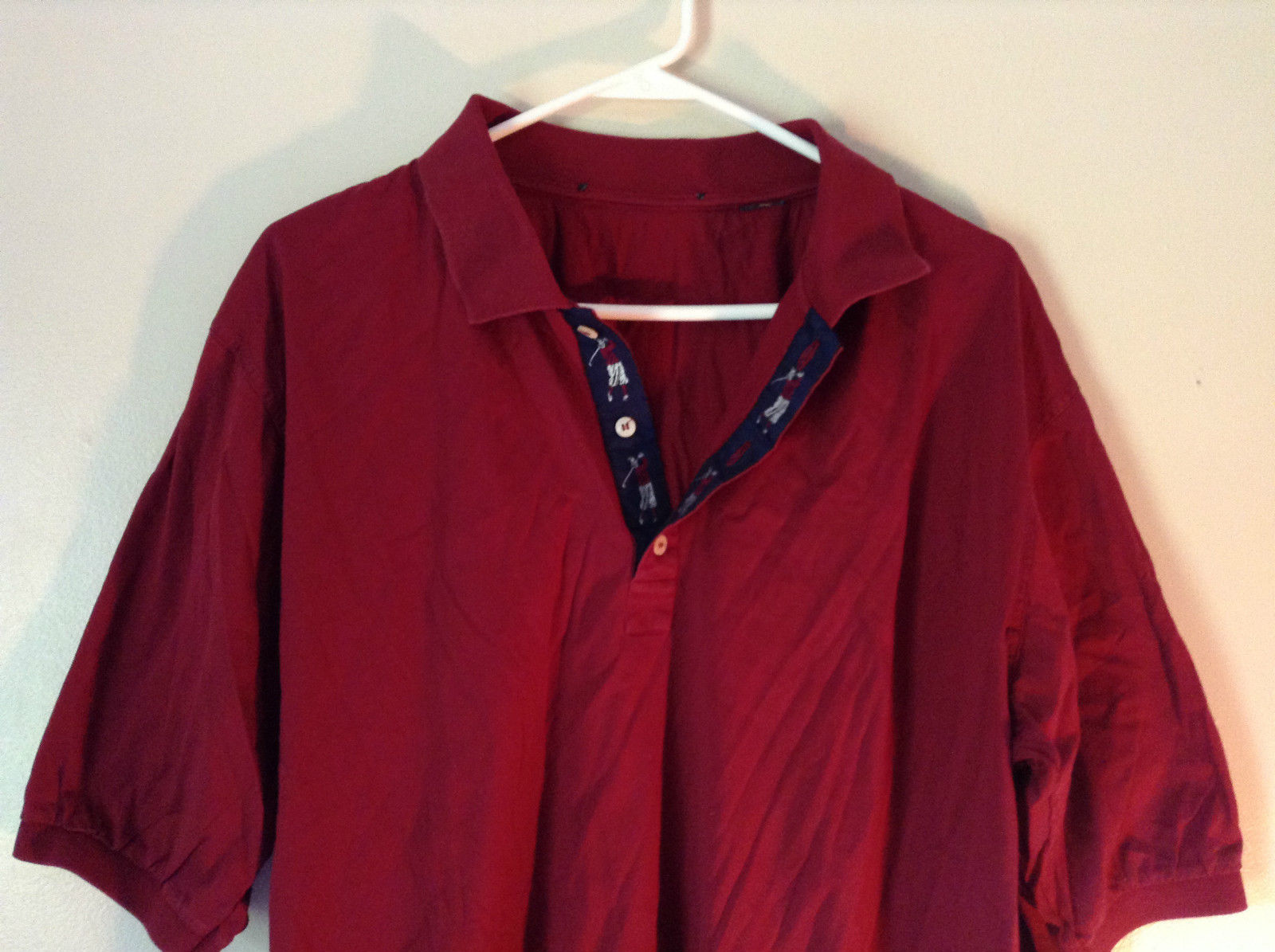 Red Short Sleeve Polo Shirt 3 Button Collared Closure No Tags Measurements Below