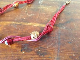 Red Multi Strand Intertwined Necklace with Gold Tone and Red Beads Adjustable image 2