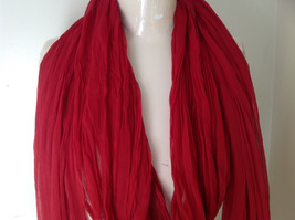 Red Indian Style Beaded Scarf Scrunched Design Tassels are Beaded  Made in India image 2