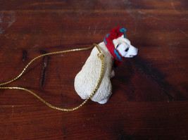 Polar Bear with Scarf on Neck Ornament Gold Color String for Hanging image 4