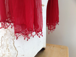 Red Indian Style Beaded Scarf Scrunched Design Tassels are Beaded  Made in India image 4