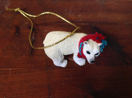 Polar Bear with Scarf on Neck Ornament Gold Color String for Hanging image 5