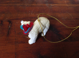 Polar Bear with Scarf on Neck Ornament Gold Color String for Hanging image 3