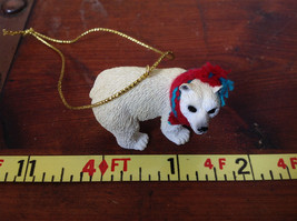 Polar Bear with Scarf on Neck Ornament Gold Color String for Hanging image 6