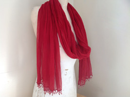 Red Indian Style Beaded Scarf Scrunched Design Tassels are Beaded  Made in India image 3