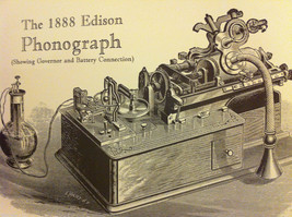 Poster of Edison 1888 Phonograph Steel Engraving Reproduction with genius quote image 7