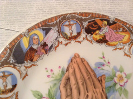 Praying Hands Ceramic Plate Bible Scenes on Edges Around Plate image 3