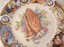 Praying Hands Ceramic Plate Bible Scenes on Edges Around Plate image 2