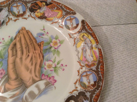 Praying Hands Ceramic Plate Bible Scenes on Edges Around Plate image 6
