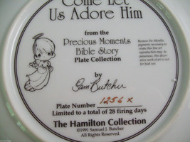 Precious Moments Plate #1256X Bible Story Come Let us Adore Him image 6