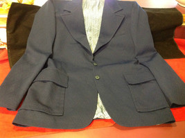 Pretty 2 Button Ladies Blue Blazer 24 Inch W 32 Inch L 27 Inch Arm 4 Inch Neck image 10