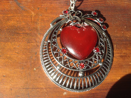 Pretty Circular Shape with Red Heart Shape Stone and Red Crystals Scarf Pendant image 2