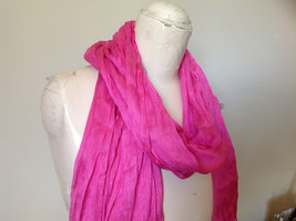 Pretty Dark Pink Scrunched Style Tasseled Fashion Scarf Soft Material image 3