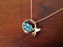 Pretty Fish Shaped 10K Gold Plated Necklace with Light Blue Crystals Adjustable  image 4