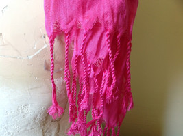Pretty Dark Pink Scrunched Style Tasseled Fashion Scarf Soft Material image 6