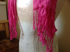 Pretty Dark Pink Scrunched Style Tasseled Fashion Scarf Soft Material image 5